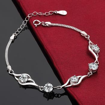 银晶灵 925纯银手链 水晶柔美天使 手链 女款 韩版 时尚 女友生日礼物腕链炫丽白常规