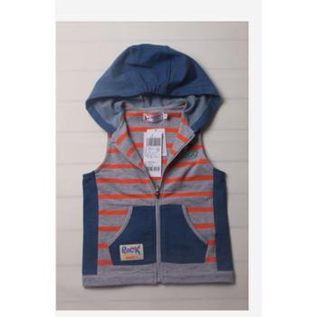14春装新款史努比童装正品2ss40703男童针织附帽马甲条纹拉链