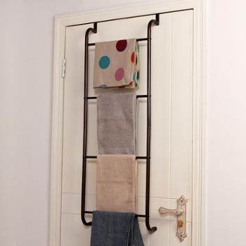 欧润哲浴室门后创意多用衣帽毛巾挂架免钉无痕不锈铁艺衣架挂钩