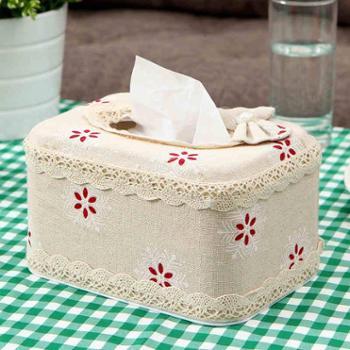 欧润哲棉麻制田园风纸巾盒布艺家用纸巾方盒纸卷盒