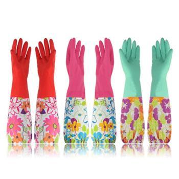 艾多 束口长袖植绒家务清洁手套 3双装