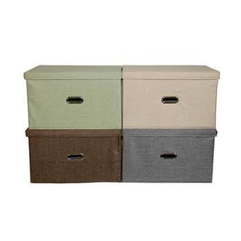 艾多 特大号布艺可折叠有盖衣服收纳整理箱 1只装