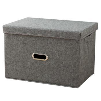 艾多 大号布艺可折叠棉麻收纳整理箱 1只装