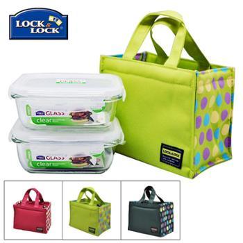 乐扣乐扣耐热玻璃保鲜盒饭盒2件套装带包LLG424S902微波便当盒