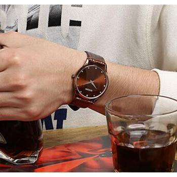 洛卡思新款皮带手表男学生超薄两针石英表韩版时尚防水男士手表