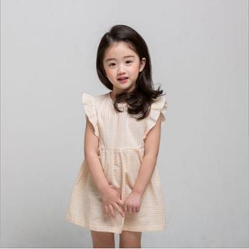 童装条纹韩版公主裙条纹飞飞袖韩国设计条纹女童裙夏