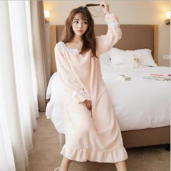 紫茵妮 韩版秋冬季法兰绒睡裙女士加长款珊瑚绒秋季睡衣冬天加厚可爱长裙