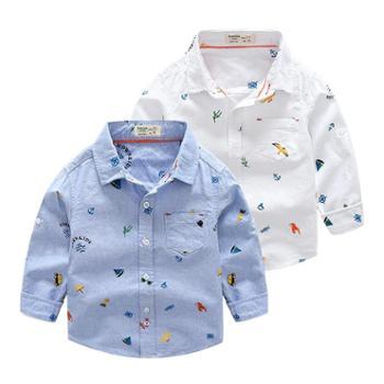 新款秋款童装男童儿童印花卡通纯棉牛津纺长袖衬衫