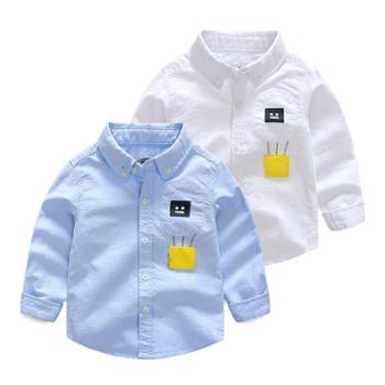 新款秋季*品牌童装男童儿童全棉牛津纺刺绣卡通衬衫