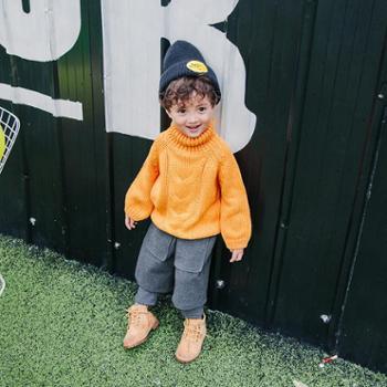 冬季新款儿童高领毛衣男童休闲针织衫秋款宝宝宽松毛衣百搭童装潮