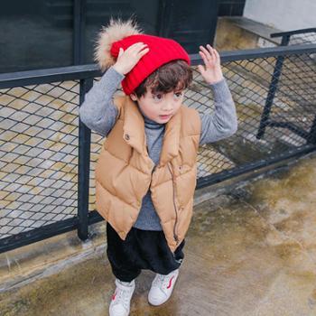 男童加棉马甲2018冬季新款儿童单排扣保暖马甲女宝宝休闲无袖外套