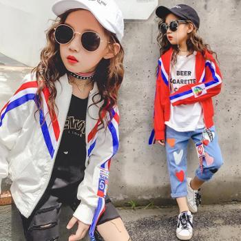 女童外套春秋季新款韩版童装潮儿童织带夹克衫中大童休闲外套