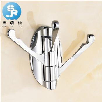 圣瑞佳卫浴五金挂件厨房不锈钢挂钩门后排钩180度活动衣钩跨境