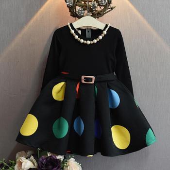 春秋新款韩版女童圆点腰带连衣裙潮冬季加绒黑色拼接裙子童裙送项链