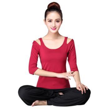 初学者瑜伽服套装莫代尔健身服舞蹈服女装秋季中袖白色健身运动服