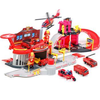 儿童多层停车场玩具车大号套装模型汽车5仿真合金轨道车4-6岁男孩