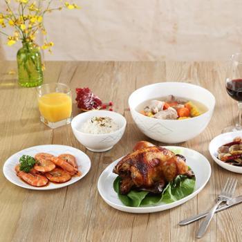 乐美雅迪瓦丽石纹餐具白玉钢化玻璃餐碗餐盘餐具10件套