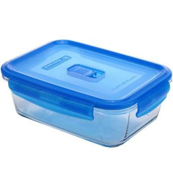 乐美雅全钢化纯净玻璃保鲜盒长方形1220ml-L0812