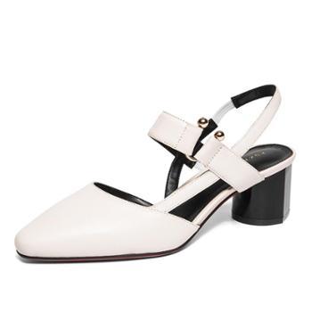 奥康女鞋粗跟鞋2018春季新款尖头一字带韩版时尚潮皮鞋单鞋中跟鞋