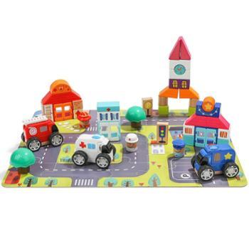 儿童木制拼插积木玩具 1-2-3周岁宝宝大颗粒积木益智玩具