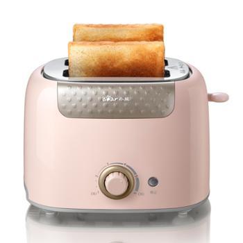 小熊(bear)多士炉烤面包片机全自动家用小型吐司机2片早餐机神器三明治机 DSL-601 萌粉色
