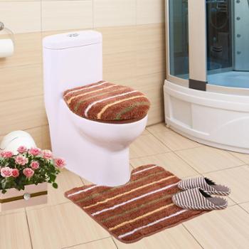 凯诗风尚家纺 条纹经典卫浴马桶三件套 马桶套 保暖套