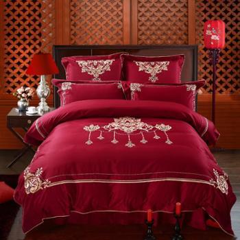 凯诗风尚喜结连理60S婚庆六件套贡缎大红床品床单1.8m床上用品套件