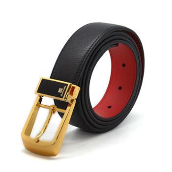 本命年男士皮带红腰带裤带头层牛皮针扣黑色红色鸿运当头红腰带