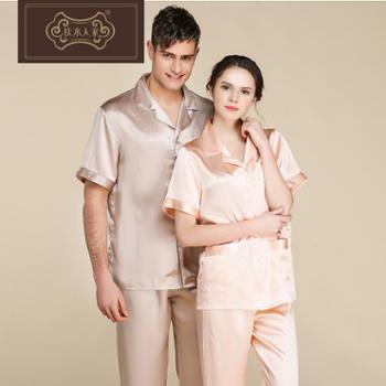 枕水人家春夏新款短袖真丝情侣睡衣男女士家居服套装桑蚕丝绸