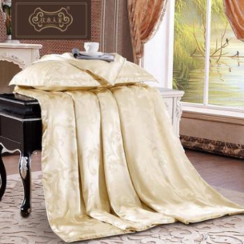 枕水人家真丝被套提花丝绸床品纯色床上用品100%桑蚕丝宽幅被罩