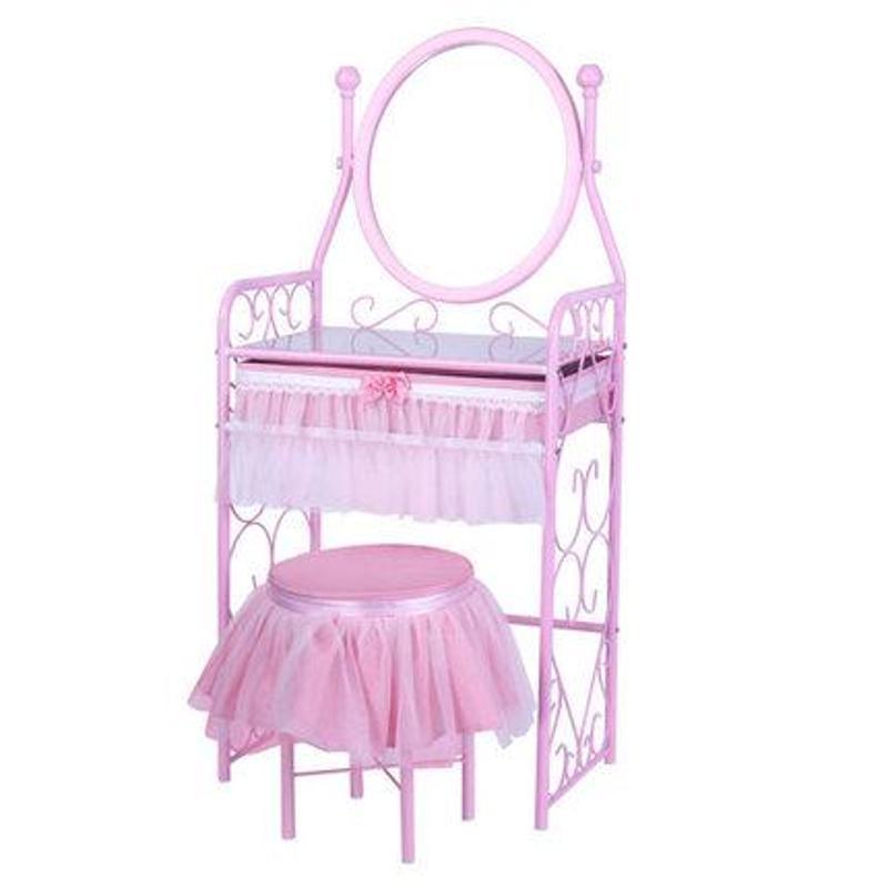 日式简易梳妆桌 粉色公主梳妆台 凳子 现代简约 镜面 特价
