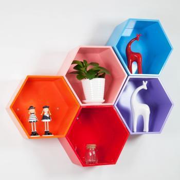 自由色彩创意格子壁挂架烤漆隔板墙上置物架宜家创意家居