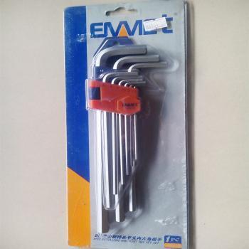 埃米顿专业手动工具 9件套公制特长平头内六角扳手 12010