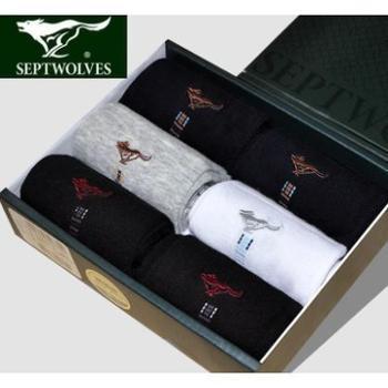 七匹狼男士袜子【6双礼盒装】男袜商务透气吸汗棉袜