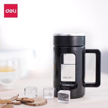 得力6137玻璃杯 办公杯家用茶杯 大容量透明450ml 不烫手