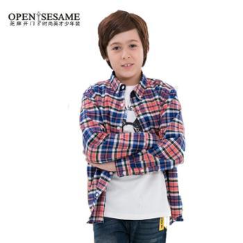 【芝麻开门】少年装中大童男孩都市休闲款纯棉长袖衬衫