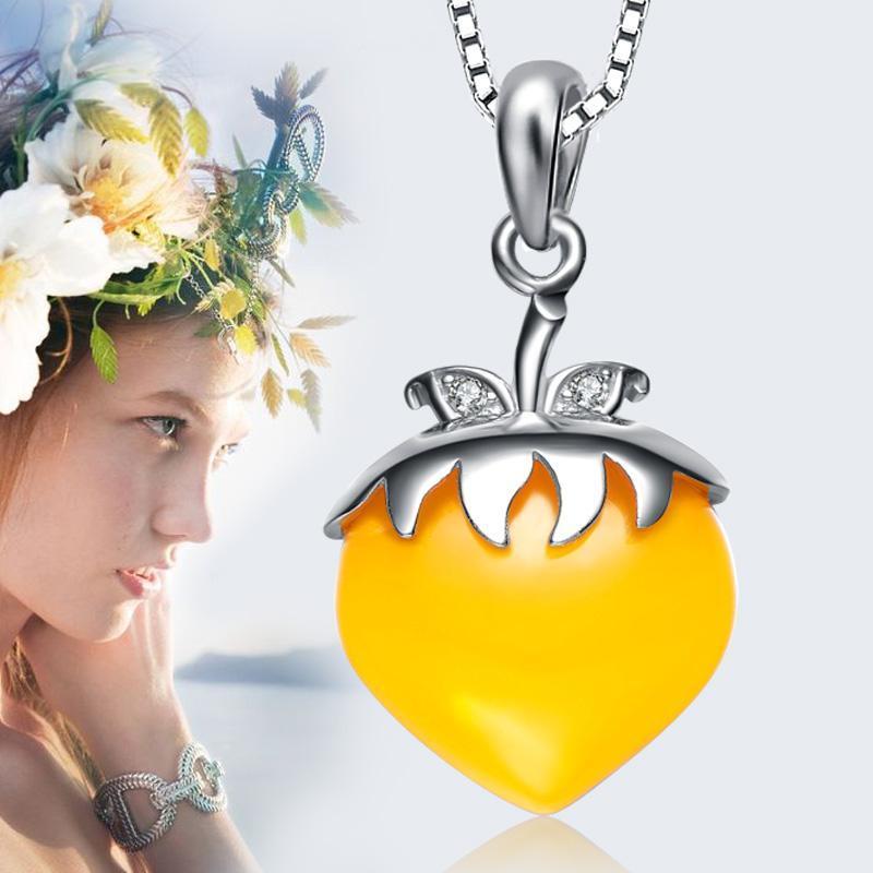 s925纯银镶嵌宝石时尚草莓黄松石吊坠 时尚气质项链(送项链)黄色宝石