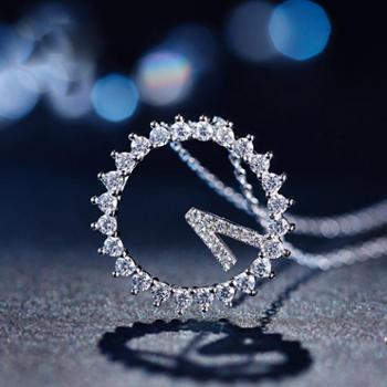 925纯银项链女 永远爱你项链 韩国时尚韩版首饰饰品水晶锁骨链 送女友