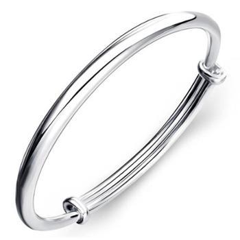 钻金森珠宝足银手镯圆柱实心光肚传统时尚可调节纯银手镯生日礼物
