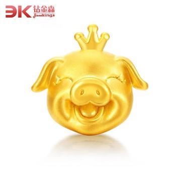 足金3D硬金猪转运珠手链手绳本命年宝宝生肖手串皇冠