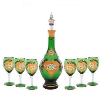 红海玻璃酒杯酒壶酒具人工吹制工艺品艺术品礼品摆件家居饰品
