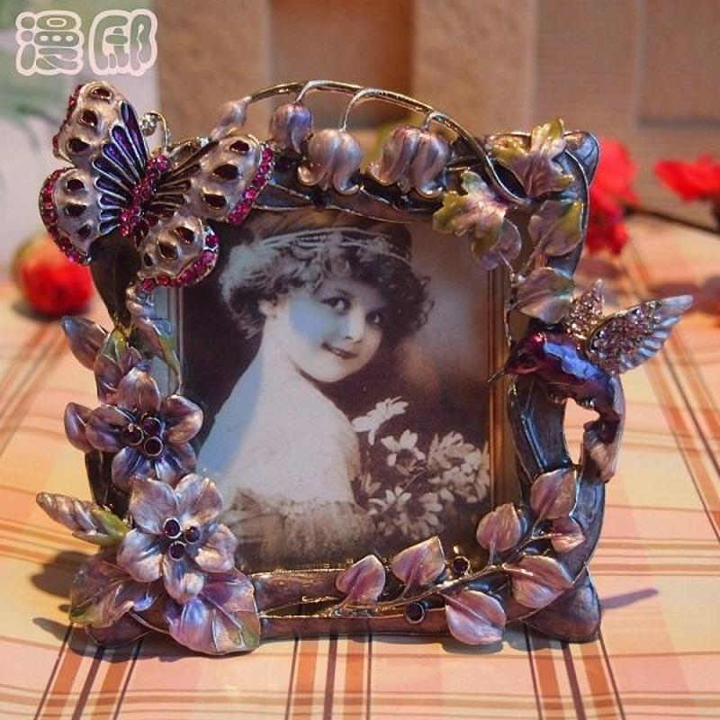 漫邸欧式锡合金相框 田园复古儿童创意像框像架 蝴蝶小花可爱像