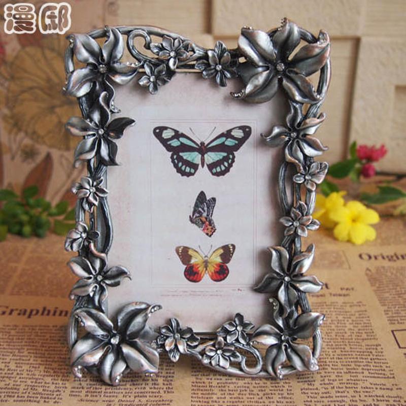 漫邸欧式锡合金相框大自然立体花朵装饰像框高雅镶钻