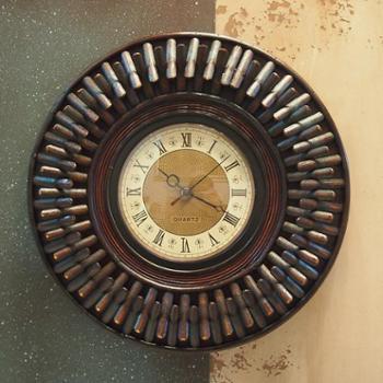欧式复古竹编个性创意静音壁钟客厅卧室咖啡厅墙壁装饰品钟表挂件