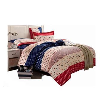 彩阳家纺全棉斜纹印花床上四件套纯棉条纹格子床单被罩被套款床上用品