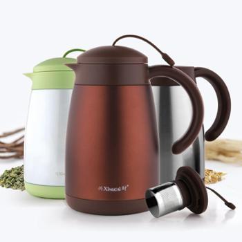 兴财 304不锈钢保温茶壶1.0L大容量过滤家用泡茶壶 热水瓶带茶隔