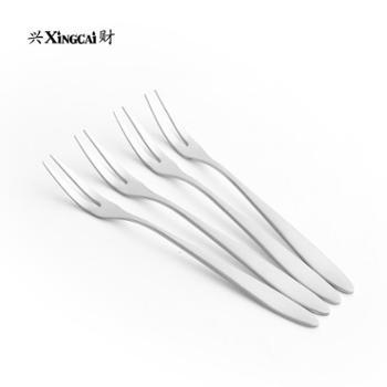 兴财304不锈钢餐叉水果糕点叉子便携式餐具家用不锈钢叉子