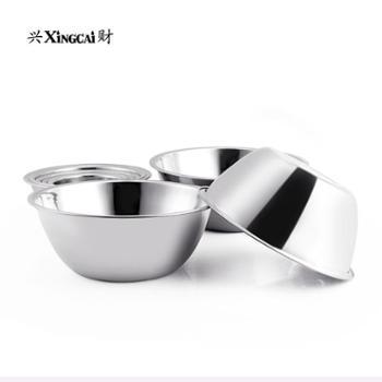 兴财304不锈钢敞口汤盆加厚料理盆加深打蛋盆家用沙拉盆单个装