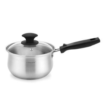 兴财304不锈钢小汤锅加厚复底单柄奶锅煮锅煲汤煮面电磁炉用16cm