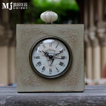 时尚田园风格实木座钟简约客厅装饰钟创意高档家居坐钟摆件